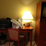 writing desk with a lamp