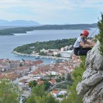 Rock climbing with Hvar as the backdrop
