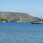 View of Spinalonga from the beach in front of Manos Apartments