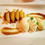 Crunchy Tarte Tartin, caramelised apple skin, hazelnut & Vanilla Ice-cream