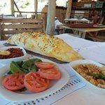 """Flat"" bread with mezze at waterside restaurant!"