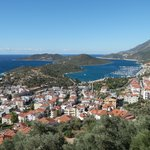 View over Kas to peninsular with hotel