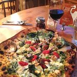 Pizza and red wine.