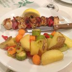 Chicken souvlaki with grilled vegetables