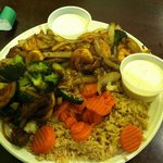 Osaka combination platter (steak, shrimp, chicken and scallops) with zucchini, onions, carrots,