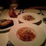 risotto, roasted eggplant, crab linguine. Sorry for the poor picture quality.