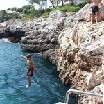 Kids tombstoning. Very safely.