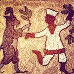 Pulled rug at Dancing Goat cafe