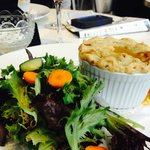 Pot pie with salad and wine!  Delicious