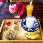 Traditional moroccan breakfast and freshly squeezed orange juice