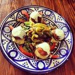 Felafel, hummus, tzatziki and roast pepper salad