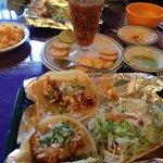 Soft chicken taco and toastado