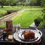 Lunch overlooking grden