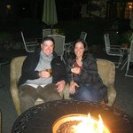 Having a few drinks on the patio by the firepit