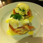 Breakfast - smoked salmon and eggs benedict on toasted muffin - delicious