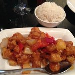 Sweet and Sour Pork with a portion of white rice