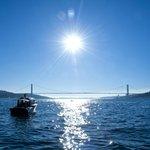 Euro-asiatische Brücke mit Hotelboot