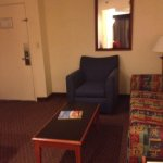 Old decor.  Very spacious but didn't even sit down on the couch.  Couldn't see if it was clean o