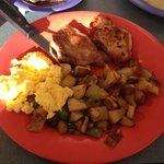 Pork chops and eggs with ranch style potatoes (onions and green peppers) - Also included 2 of th