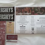 Two Hershey Bars, Our room keys and misc paperwork given upon check-in