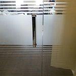 glass doors to bathroom