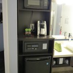 Safe, coffee maker, fridge
