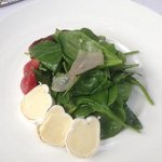 OMG delish! spinach salad has onion, brie, strawberries, sweet onion, pecans