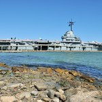 Starboard side view of the USS Lexington in Corpus Christi Bay.
