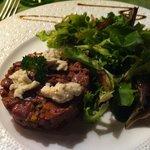 Duck tartare with hazelnut oil, pistachio and gorgonzola, suuperb
