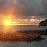 Il tramonto nel giorno dell'arrivo al Romantica