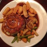 The Swan's Steak & Guinness pie with chips and roasted veg.