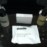 Complimentary soap, showergel, shampoo & shower cap
