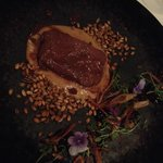 Slow cooked venison, caramelized onion, toasted farro & red wine vinegar gel