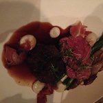 Filet and Beef Cheek with Onion and Asparagus