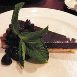 Dark Chocolate Tart with Dark Cherry Compote
