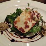 Pan-fried Halloumi on Crisp Rocket with Artichoke Tapenade and Balsamic