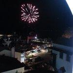 Vuurwerk boven de haven.
