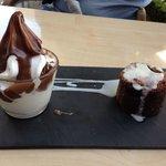 Brownie y yogurt