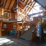 rustic log lobby