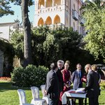 Wedding ceremony at Belvedere Gardens.
