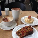 Nice coffee and superb cakes.