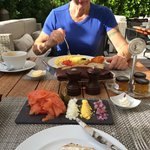 Her Ladyship enjoying breakfast in the sunshine