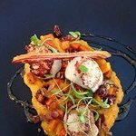 Delicious Griddled Scallops with Pumpkin Puree and Pancetta