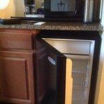 Mini fridge, microwave, coffee maker storage