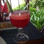 My watermelon juice with breakfast