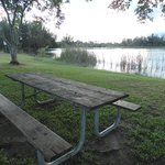Picnic tables overlooking the lakes