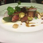Wild wood pigeon, parsnip and white truffle purée, fresh grapes, toasted almonds