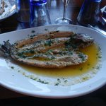 Trout marinated with a fantastic garlic sauce