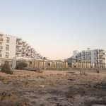 Hotel from rocky beach