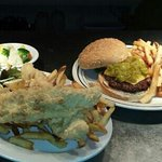 catfish & new mexico green chili cheese burger.